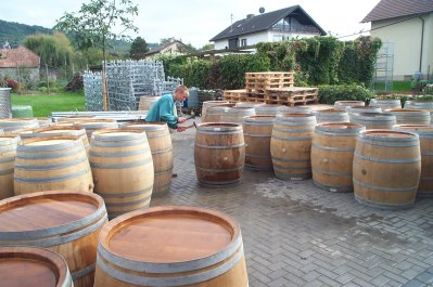 Barriques werden vorbereitet- Oak barrels are beeing prepared