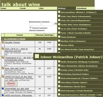 Screenshot von talk-about-wine.de mit geöffneten Weblog-Verzeichniss
