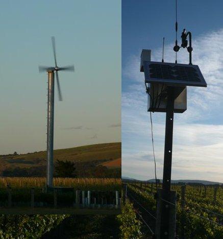 Wetterstation und Windmachine-collage