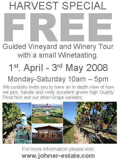 Harvest Special 2008 Free Vineyard and Winery Tour Flyer